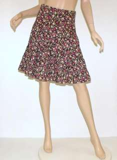 Anthropologie MONTEAU Black Floral Rose Victorian Print Tiered Ruffle