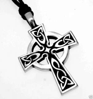 Silver PEWTER Irish Wales CELTIC CROSS Necklace PENDANT