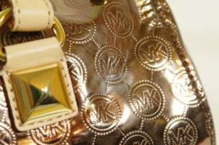 New Michael Kors Grayson Cocoa Monogram Mirror Metallic Large Satchel