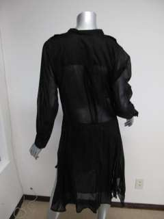 Etoile Isabel Marant Black Long Sleeve Sheer Mid Calf Pocket Dress 1