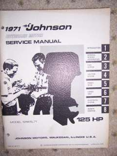 1971 Johnson Outboard Motor Service Manual 125 HP w