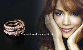 Elegant 18k White Gold GP use Swarovski Crystal Twisted Ring Set Size7