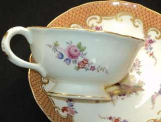 ANTIQUE Chelsea bird Sevres style Scale Tea cup and saucer Coalp