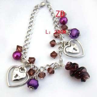 A0134 Lampwork glass crystal Pearl bead heart Bracelet