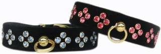 Tiara Style Black Velvet Jeweled Pet Dog Collar