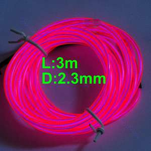 Light Glow EL Wire Rope Tube Car Dance Party+Controller H Pink