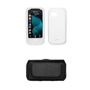 Samsung Mythic A897 White Silicone Gel Skin Cover Case + Leather Case