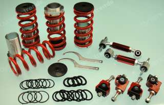 RED DC2 JDM COILOVERS LOWERING SPRING SLEEVES + FRONT REAR CAMBER
