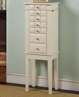 White Wooden Jewelry Armoire Cabinet with Six Drawers and Necklace
