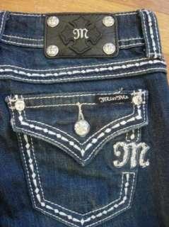 NWT MISS ME Rhinestone Button Flap Back Pockets Easy Straight Leg