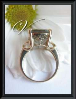 10K Solid Yellow Gold Genuine Green Amethyst Diamond Coctail Ring 6.5
