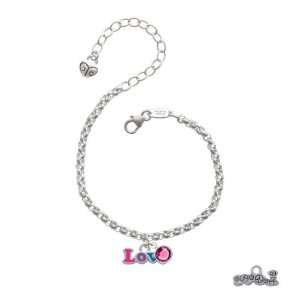 Rainbow Colored Love Silver Plated Brass Charm Bracelet with Rose