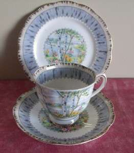 ROYAL ALBERT BONE CHINA SILVER BIRCH TEA CUP AND SAUCER TRIO SET