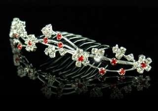 Wedding Bride Flower Girl Red Crystal Tiara Comb T1129