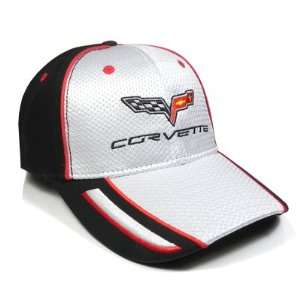 Corvette C6 White, Black Pique Mesh Baseball Cap, Official