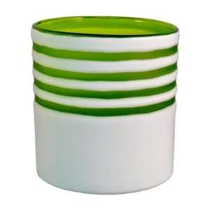 White with Green Stripes Glass Ice Bucket  Kitchen