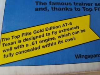 TOP FLITE GOLD EDITION AT 6 TEXAN R/C MODEL AIRPLANE KIT