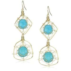 Misha Double Drop Wire Wrap Turquoise Earrings Jewelry
