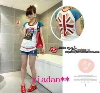 Union Jack Ladies Fitted SEXY T Shirt British Top Korean White Free