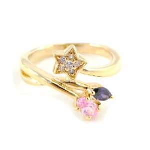 Plated ring gold scarlett purple pink.   Taille 52