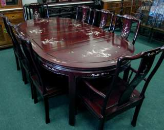 Solid Rosewood Dining Table Set w/ Abalone Shell Inlaid