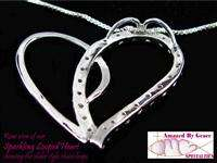 Large Sterling Silver Sparkling Looped Heart Necklace