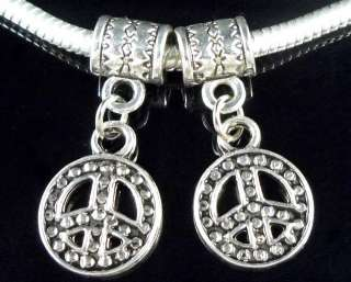 40x Tibetan Silver Peace Dangle Charm Fit Bracelet ZY21