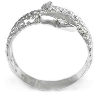 Mens Solid 14k White Gold Snake Diamond Serpent Ring