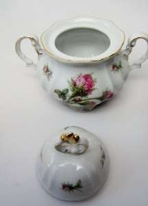 Hertel Jacob Porzellan Bavaria Germany vintage MOSS ROSE Cream & Sugar