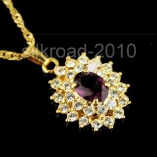 Dazzling SWAROVSKI crystal 18k yellow gold GP necklace BB55