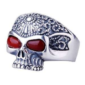 European Skull Head Ring Thai Silver w/ Ruby Gem Stone Inlay Jewelry