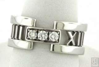 TIFFANY & CO. ATLAS 18K WHITE GOLD .24CT VS1/F DIAMOND LADIES RING