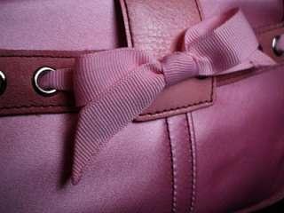 MINI PINK SATIN SUEDE LEATHER TRIM TOP HANDLE EVENING CLUTCH PURSE BAG