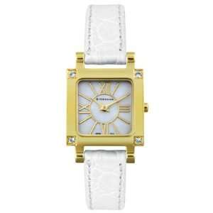 Womens White Leather Sawarovski Crystal Giordano Watches