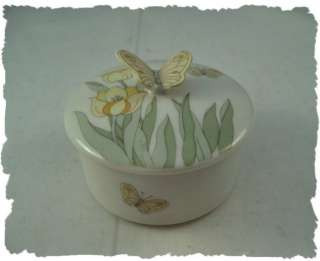 Vintage Yellow Butterfly Trinket Box Porcelain China
