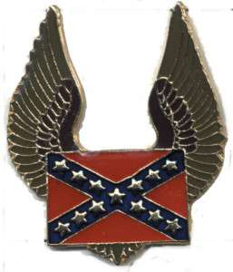 Dixie Heritage CSA Hat Pin Rebel Flag tack Eagle Wings