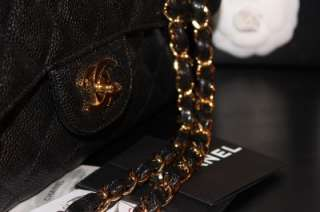PRISTINE CHANEL BLACK JUMBO CAVIAR GOLD HW CLASSIC QUILTED SINGLE