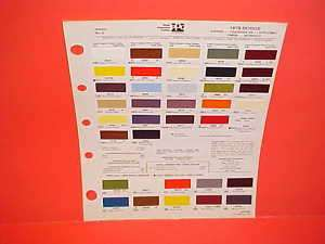 1978 DODGE CHARGER SE DIPLOMAT PAINT CHIPS COLOR CHART
