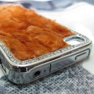 Luxury Designer Bling Crystals Fur Hard Case Cover for Apple iPhone 4S