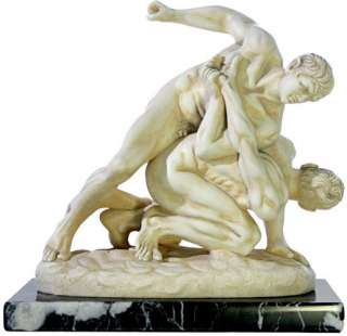 NEW GREEK Olympic Wrestlers STONE STATUE Ancient Wrestling