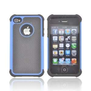 For Apple iPhone 4S 4 Blue Black Textured Dual Layer