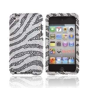 For iPod Touch 4 Bling Hard Case Cover BLACK ZEBRA