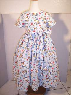 GIRLS PRETTY LIGHT BLUE HELLO KITTY DRESS SIZE 7