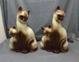 Vintage KRON Pottery Siamese Cat Kitten TV Lamp Lot of 2