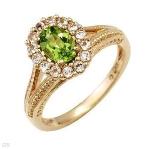 10K GOLD PERIDOT RING WITH WHITE TOPAZ ACCENTS, SOLID GOLD