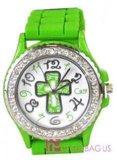 SILICONE RUBBER JELLY WRIST WATCH GREEN SCROLL CROSS