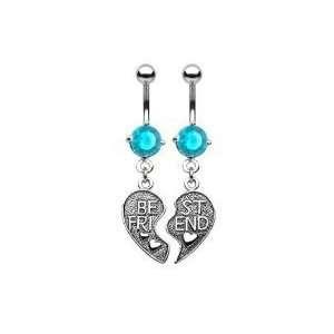 Pair of Aqua Best Friends Belly Navel Rings Jewelry