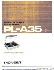 Pioneer Pl A35 Turntable Owners Manual in PDF Format