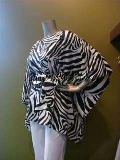 1295 New MICHAEL KORS Zebra Black White Silk Tie Cutout Shoulder