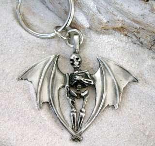 GOTHIC BAT WING SKELETON Pewter KEYCHAIN Key Ring FOB